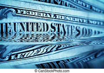 Money background - US dollars background with reflection, shallow DOF and space for your text