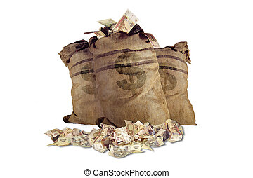 Money bag - 3 bags, full of currency. Isolated on white.