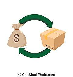 Money bag and box icon, cartoon style