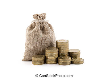 Money bag and coins isolated on white background with clipping path