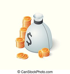 Money bag and gold dollar coins isolated on white background. Isometric vector illustration