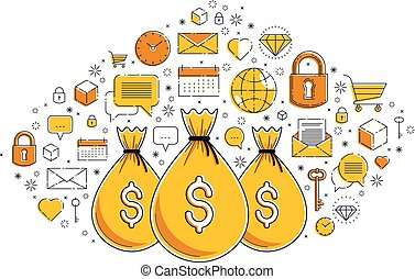Money bag and icon set vector design, savings or investments...