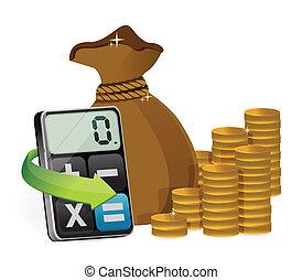 money bag and modern calculator illustration design over...