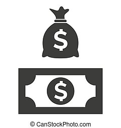 Money bag and money icons on white background.