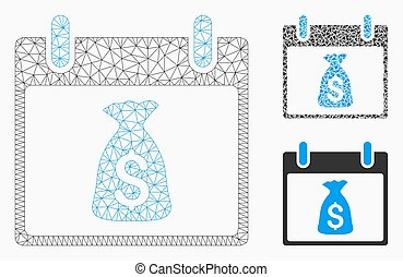 Money Bag Calendar Day Vector Mesh Network Model and Triangle Mosaic Icon
