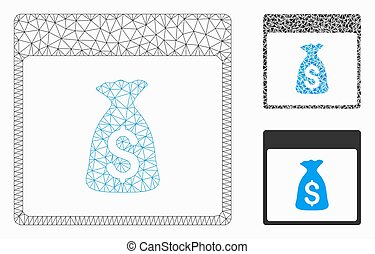 Money Bag Calendar Page Vector Mesh Wire Frame Model and Triangle Mosaic Icon