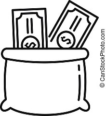 Money bag cash icon, outline style