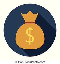 Money bag flat icon on blue background