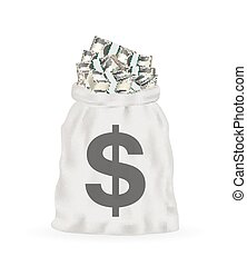 money bag full of dollar banknotes vector