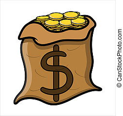 Money Bag Full of Gold Coins Vector