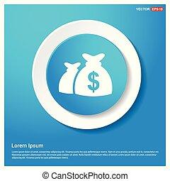 Money Bag icon Abstract Blue Web Sticker Button