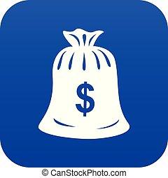 Money bag icon blue vector