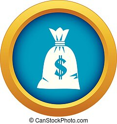 Money bag icon blue vector isolated