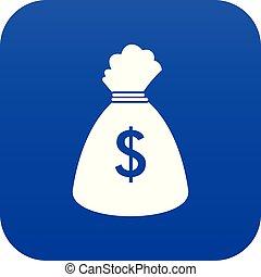 Money bag icon digital blue