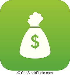 Money bag icon digital green