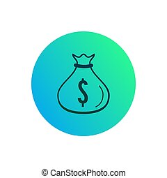 Money bag icon. Gradient button with dollar symbol on it
