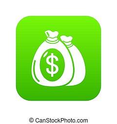 Money bag icon green