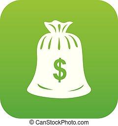 Money bag icon green vector