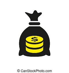 Money bag icon on white background.
