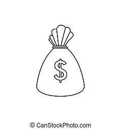 Money bag icon, outline style