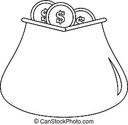Money bag icon, outline style.