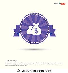 Money Bag icon - Purple Ribbon banner