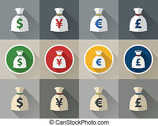 Money bag icon set with currency symbol flat design verctor