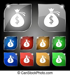 Money bag icon sign. Set of ten colorful buttons with glare. Vector