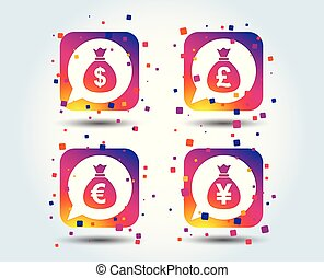 Money bag icons. Dollar, Euro, Pound and Yen.