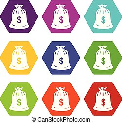 Money bag icons set 9 vector