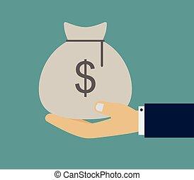 money bag in hand