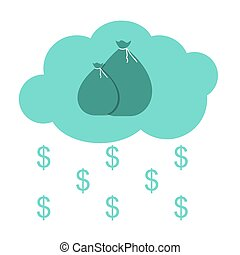 Money Bag in Modern Flat Style Icon Concept for Web. Vector Illu