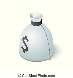 Money bag isolated on white background. Isometric vector illustration