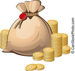 Money bag isolated over white. EPS 8, AI, JPEG