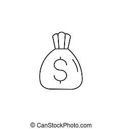 money bag line icon, outline vector logo illustration, linear pictogram isolated on white background