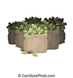 Money bag. Many sackful of cash. Wealth. Sack Dollars