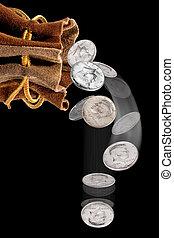 Money bag of silver dollars.