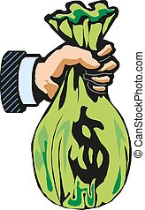 Money bag on hand Vector illustration.