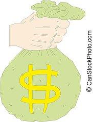 Money bag on hand Vector illustration.