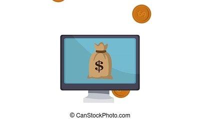 Money bag on screen HD animation