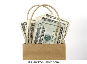Money Bag - Photo of a Brown Bag With Money.