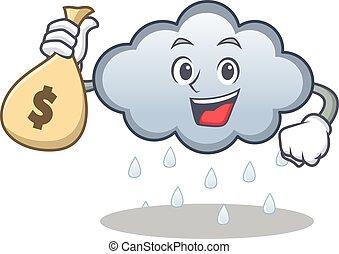 Money bag rain cloud character cartoon