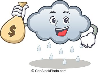 Money bag rain cloud character cartoon