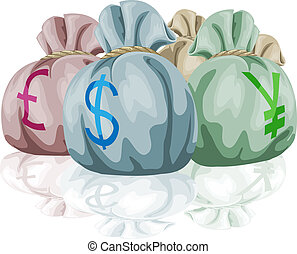 Money bag sacks containing currenci