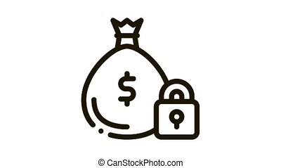 money bag security protection Icon Animation. black money bag security protection animated icon on white background