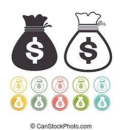 Money bag sign icon Dollar currency Vector black Yellow pink green blue red