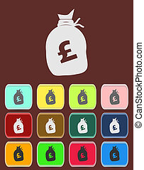 Money bag sign icon. Pound GBP
