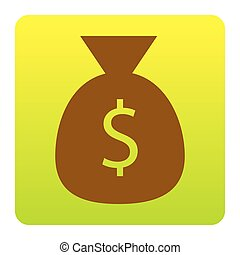 Money bag sign illustration. Vector. Brown icon at green-yellow gradient square with rounded corners on white background. Isolated.