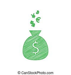 Money bag sign with currency symbols. Green scribble Icon with solid contour on white background. Illustration.