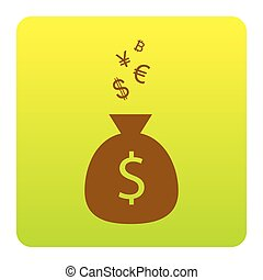 Money bag sign with currency symbols. Vector. Brown icon at green-yellow gradient square with rounded corners on white background. Isolated.